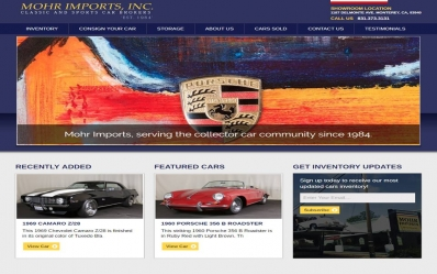 Launched Mohr Imports, Classic and Sports Car Brokers Website
